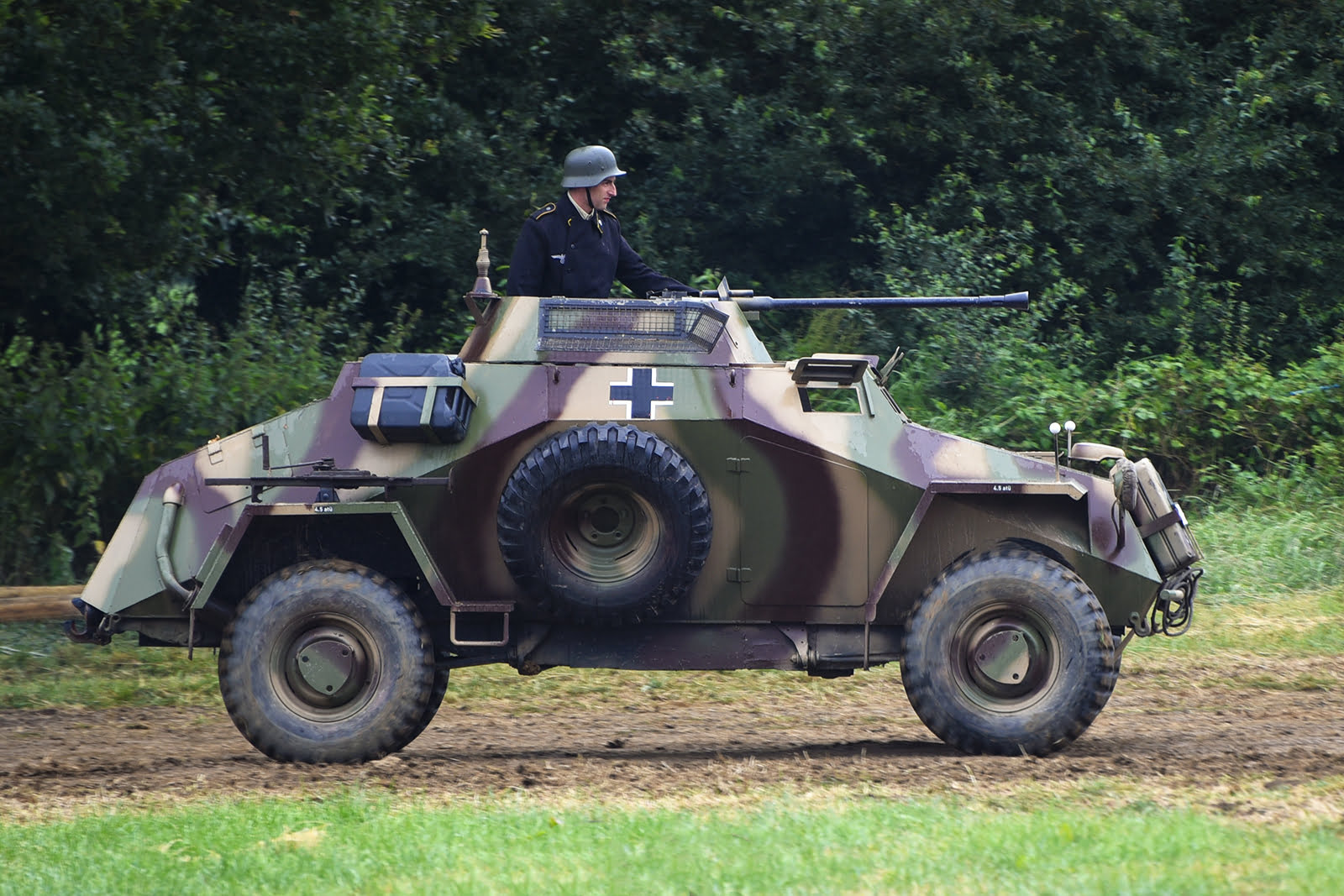 Re-enactor in vehicle at Capel Military Show