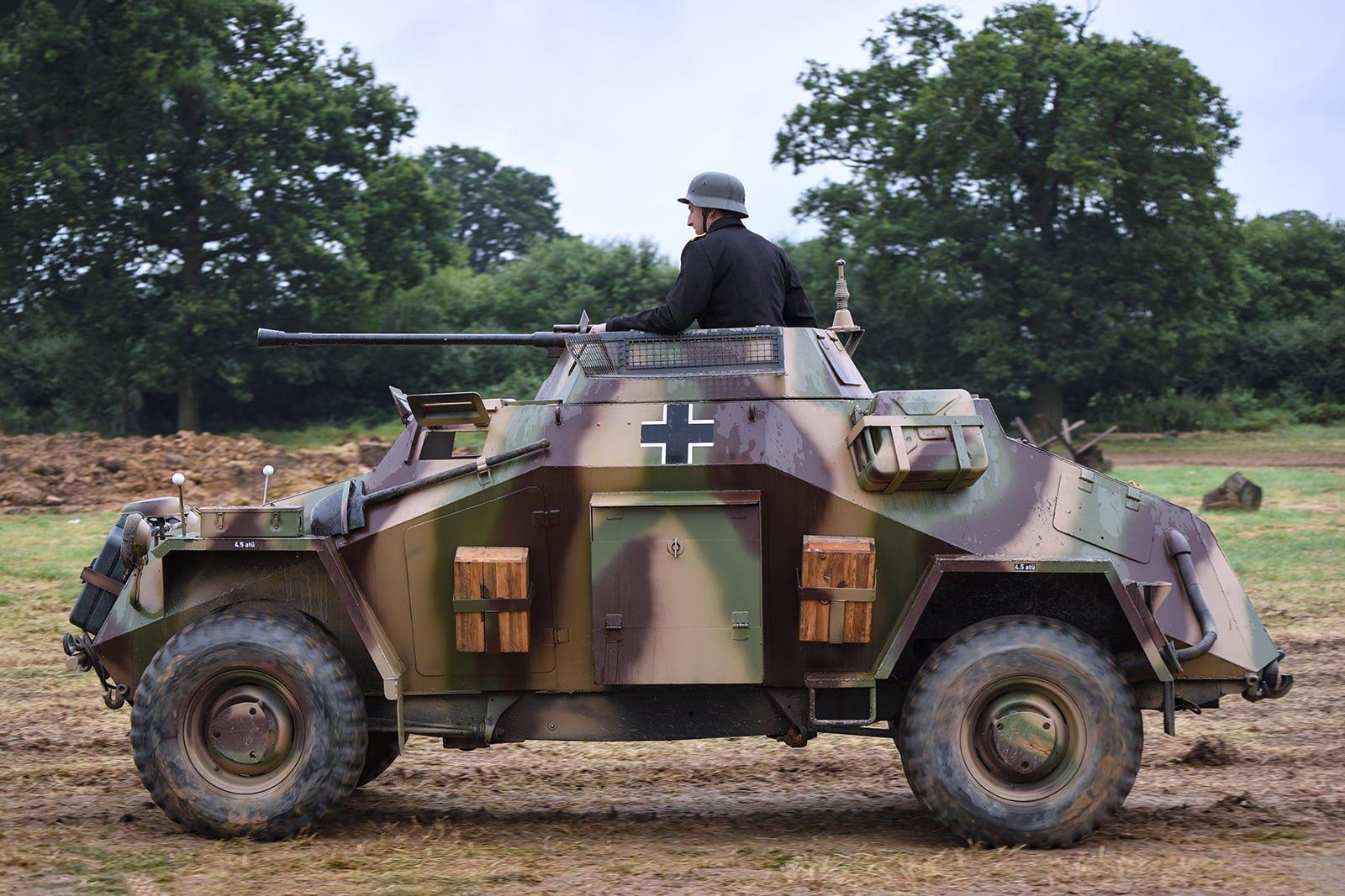German re-enactor in vehicle