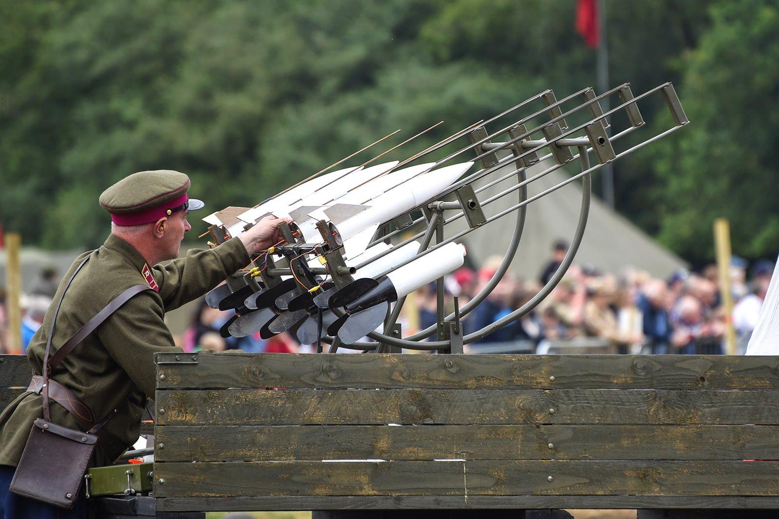 Re-enactors firing rockets at Capel Military Show